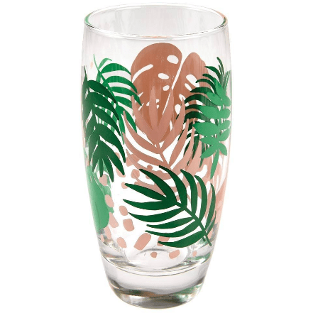 Image of the Tropical Palm Drinking Glass. A great addition to any kitchen.