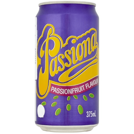 Image of a can of Passiona a passion fruit flavour soda from Australia
