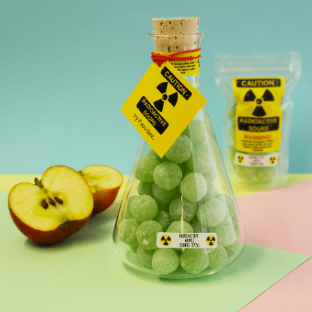 Image of Radioactive Apple Sours Flask. Lab grade flask with super sour sweets