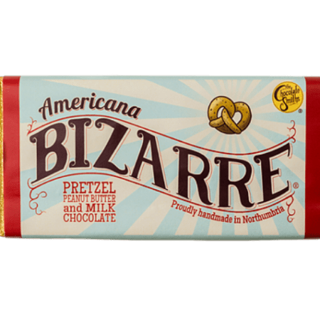 Image of the Americana Bizarre chocolate bar. Peanut Butter, Pretzel and Belgian Chocolate.