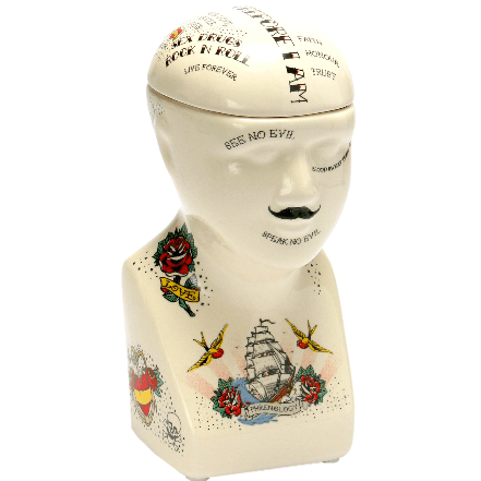 image of a ceramic storage jar in a phrenology head design with tattoo style motifs