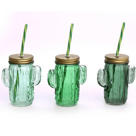 image of a 3 different coloured cactus shaped drinking glasses with straws