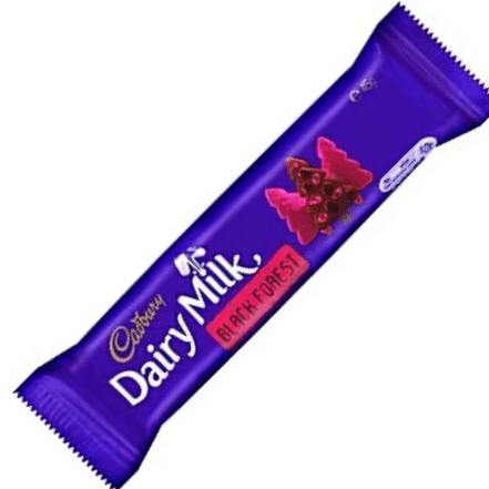 Image of a bar of cadbury black forest. Dairy milk chocolate with cherry flavour jellies and biscuit pieces.