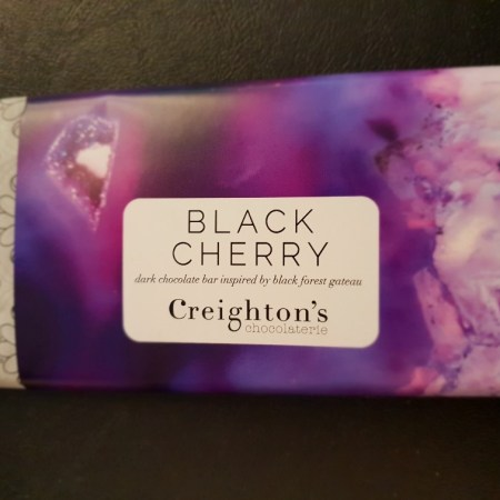 Image of the black cherry chocolate bar from Creightons