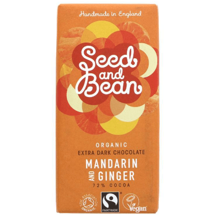 Image of the Seed and Bean Dark Chocolate Mandarin and Ginger bar