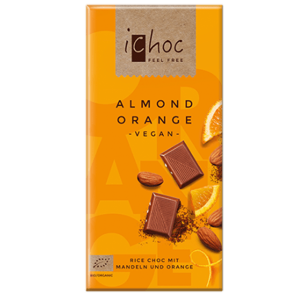 Image of the almond orange vegan chocolate bar from ichoc