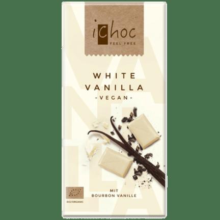 Image of the white vanilla vegan chocolate bar from iChoc