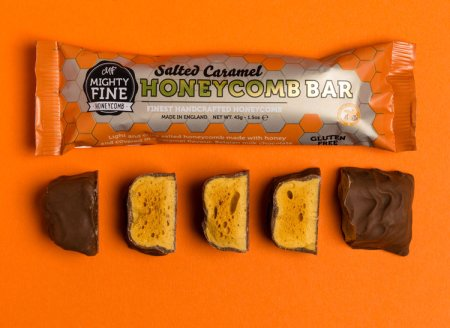 Image of the salted caramel honeycomb bar from mighty fine