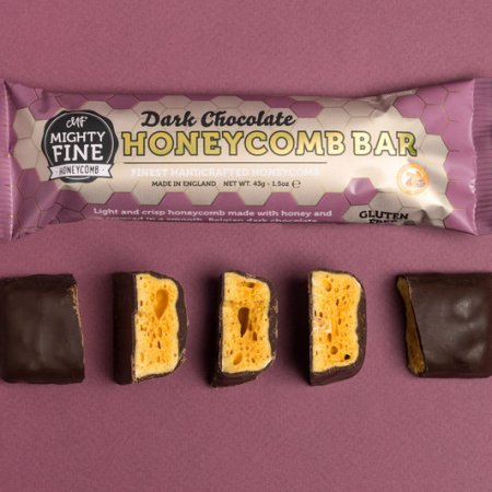 Image of the dark chocolate honeycomb bar from mighty fine