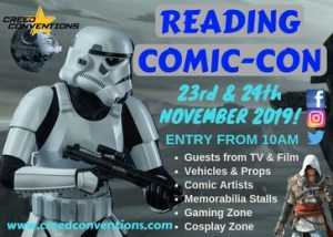 Image of an advert for the reading Comic-con 2019