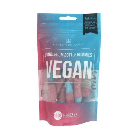 Image of a pouch of Vegan Gummy Bubble gum Bottles