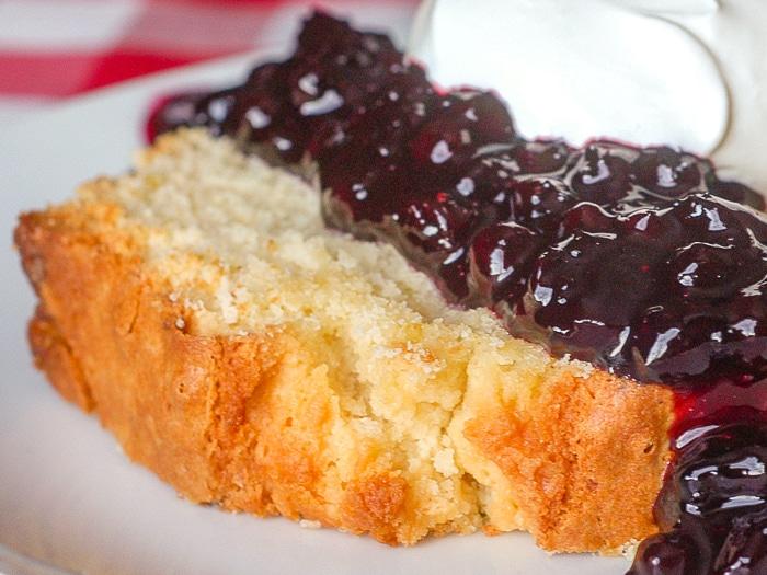 Limoncello Pound Cake with Blueberry Port Sauce