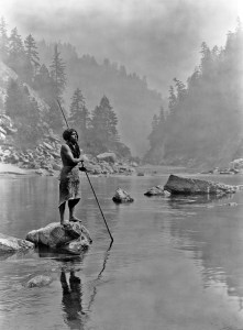 native american using a spear arrowhead to spear fish look for arrowheads in creeks and rivers where to look for arrowheads