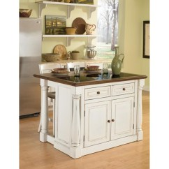 Distressed Kitchen Island Black Cabinet Handles Finished In White