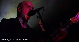 A headshot of Devin Townsend performing at The Cambridge Junction, England, October 2012