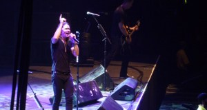 Myles Kennedy of Alter Bridge on stage at Wembley Arena October 2013