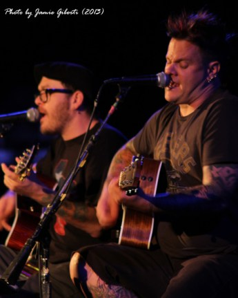a close up of Jaret & Erik from Bowling For Soup on stage at Union Chapel, London, October 2013