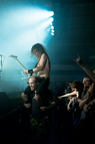 Joel from Airbourne rides a roadie, Portsmouth Pyramids, November 2013