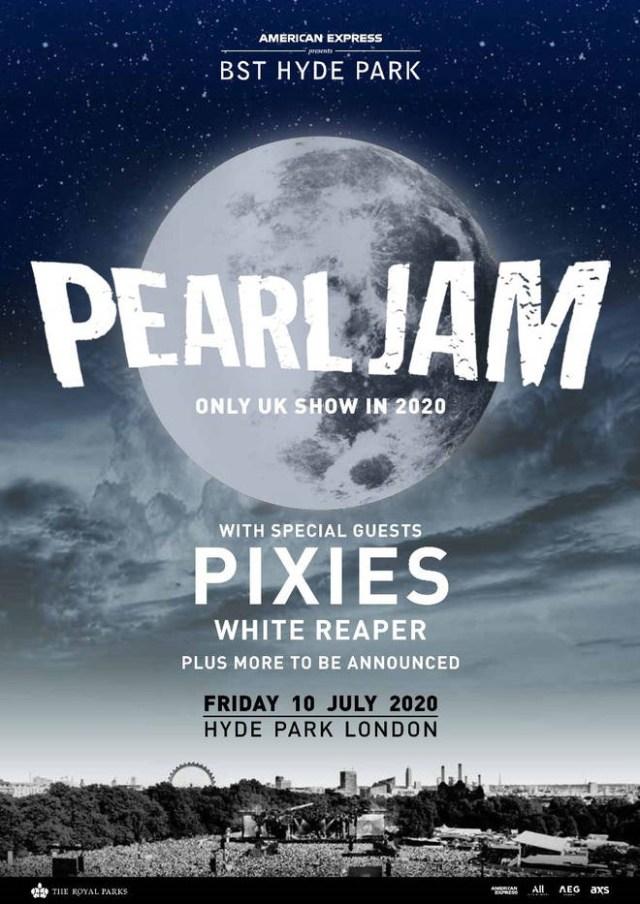 Pearl Jam - British Summertime Hyde Park 2020 Festival Poster