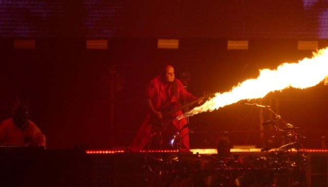 Slipknot O2 Arena London V Man with his flamethrower bass.