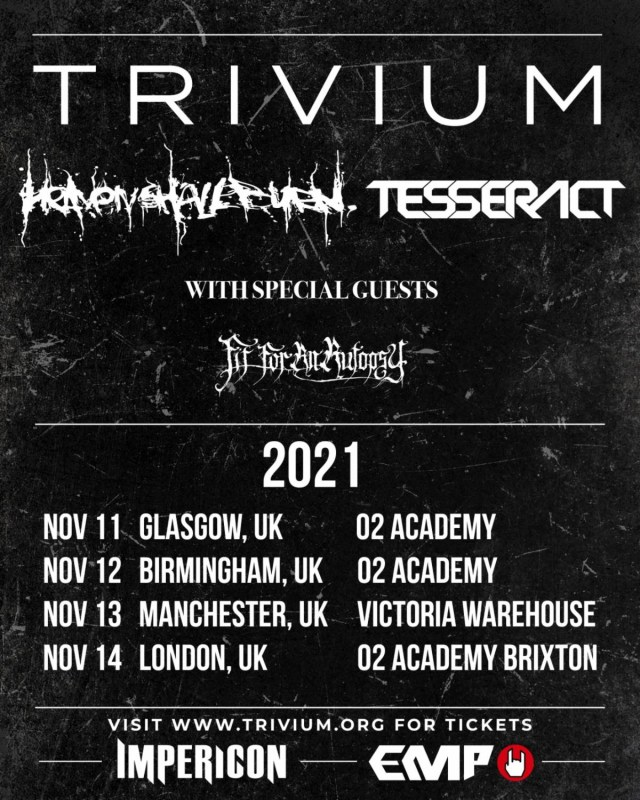 Trivium November 2021 UK Tour Poster
