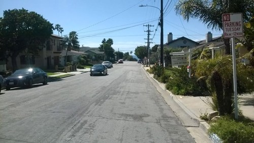 Blick von der Adresse des Elternhauses von Greg Ginn und Raymond Ginn in der 21st Street in Hermosa Beach, 2019
