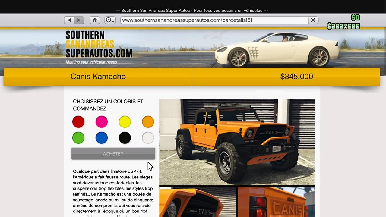 Le Canis Kamacho sur Southern San Andreas Super Autos