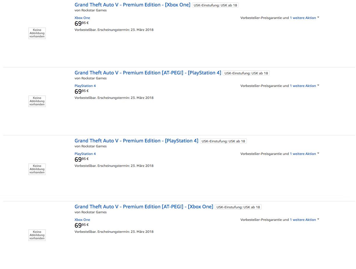 Annonce GTA V Premium Amazon.de