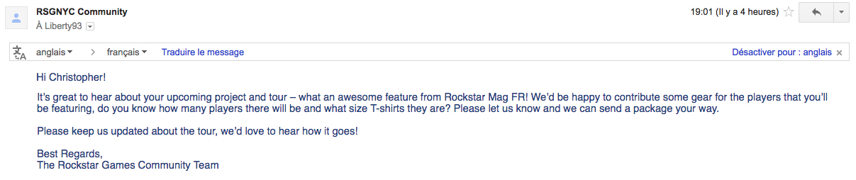 Mail Rockstar Games - Incroyable Projet Rockstar Mag'