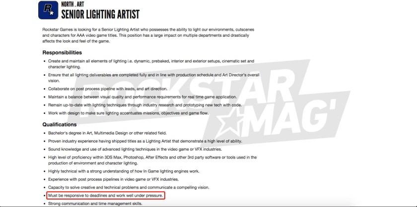 Offre Emploi Rockstar North GTA 6 GTA VI