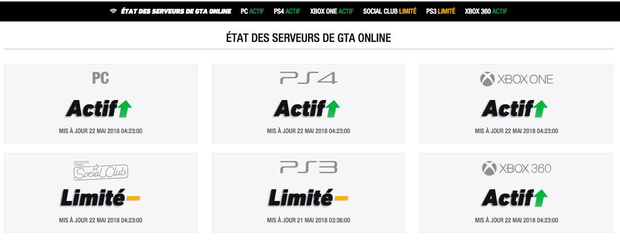 Status des Serveurs GTA Online et Rockstar Social Club 22 Mai 2018