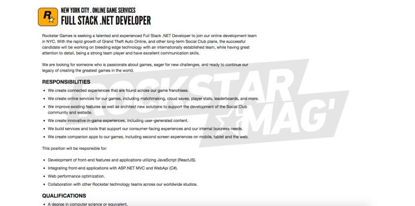 Offre Emploi Développeur Full Stack .NET Rockstar Games