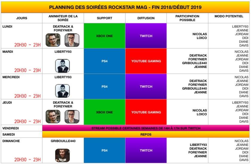 Planning Soirées Rockstar Mag