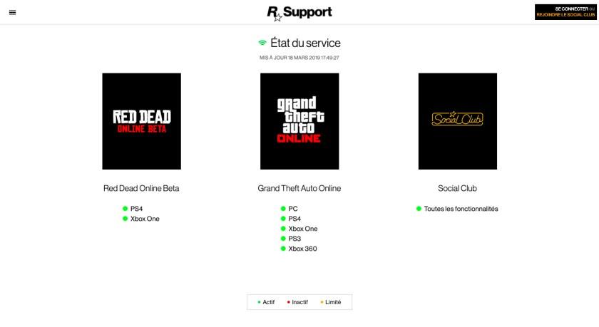 Serveurs Rockstar Games, GTA Online, Red Dead Online, Social Club, OK