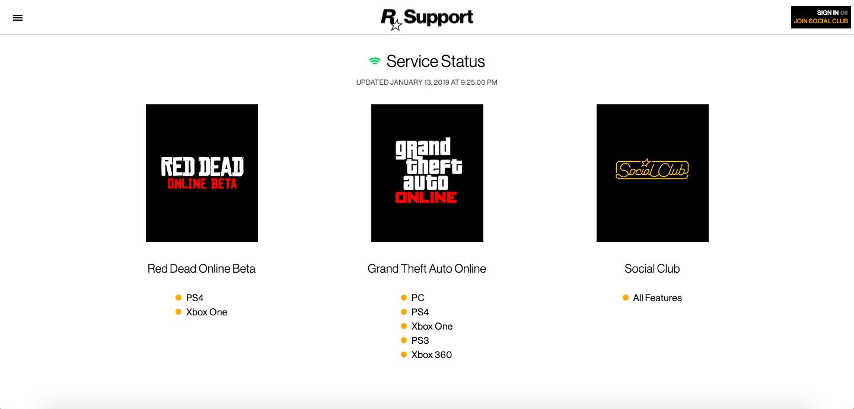 Panne Générale Serveurs Rockstar Games - GTA Online - Red Dead Online