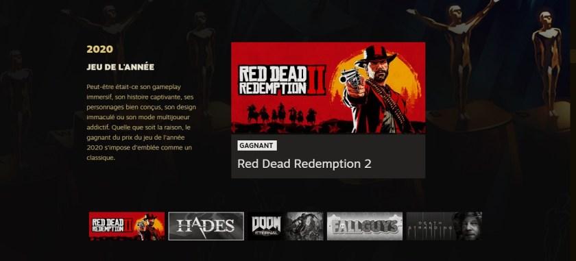 Red Dead Redemption II GOTY Steam Awards 2020