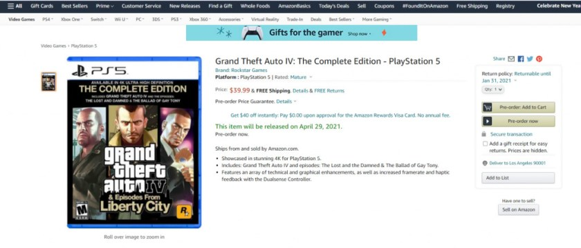 GTA 4 PS5 Amazon