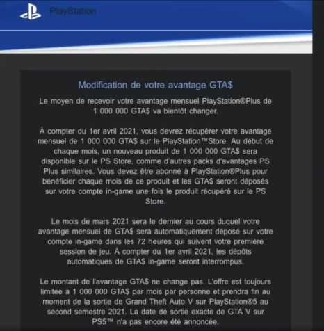 Bonus GTA$ PlayStation Store