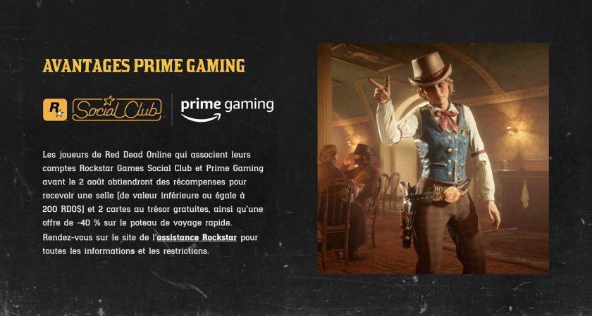 Red Dead Online : Avantage Prime Gaming