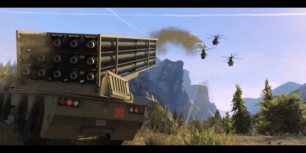 GTA Online new vehicle, HVY Chernobog missile truck shooting at 3 enemy helicopters
