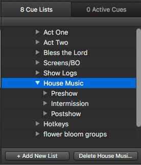 Qlab organization - Multiple Cue Lists and House Music - Rocktzar