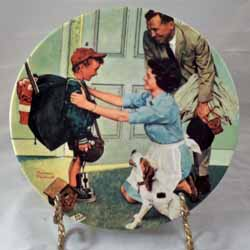 vintage kitchen hutch hand grinder home from summer camp collector plate by norman rockwell