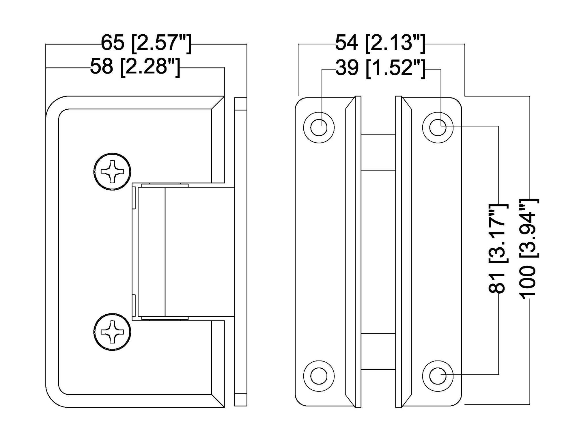 hight resolution of hshdb037lbsn rockwell heavy duty bevelled corner shower hinge h type full back plate in brushed nickel finish for heavy tempered glass shower doors