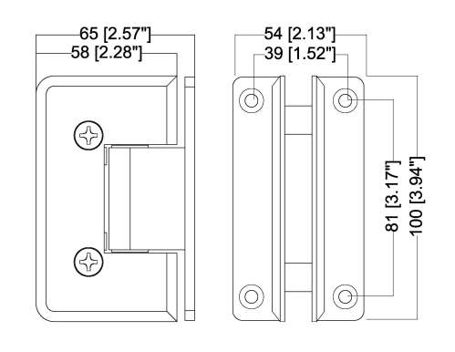 small resolution of hshdb037lbsn rockwell heavy duty bevelled corner shower hinge h type full back plate in brushed nickel finish for heavy tempered glass shower doors