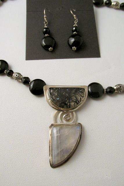 Necklace Set - TOURMALATED QUARTZ with MOONSTONE Pendant on Sterling Silver with Black Onyx Beads (JS-13)