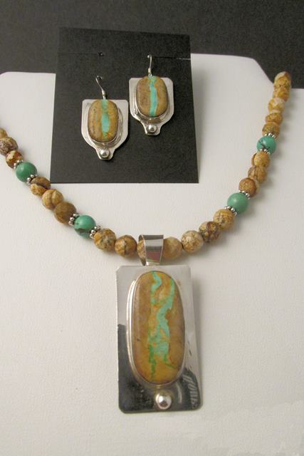Necklace Set - Boulder Ribbon TURQUOISE on Sterling Silver with Picture Jasper and Turquoise Beads (JS-16)