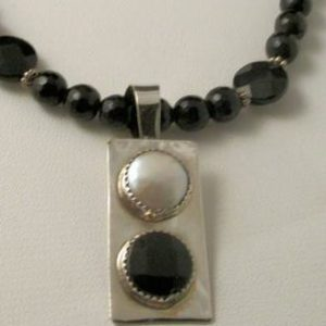 Necklace - Coin PEARL and Faceted BLACK ONYX on Sterling Silver Pendant with Black Onyx and Coin Pearl Beads (JS-24)