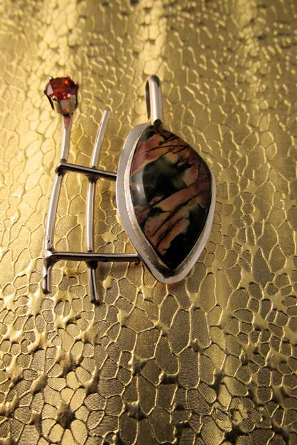 Pendant - RED CREEK JASPER and Orange Cubic Zirconia on Sterling Silver (JS-36)