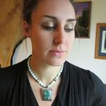 Necklace: Shattuckite Pendant with Blue Opal Beads (JS-68)