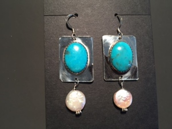 js-56 turquoise and pearl coin earrings